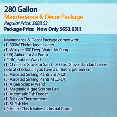 280 Gallon Maintenance and Décor Package