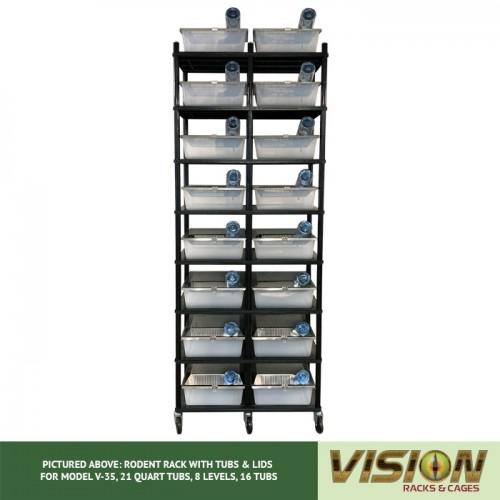 8 Level Rodent Breeding Rack (for Qty. 16, Model V-35, 21 Quart Tubs)