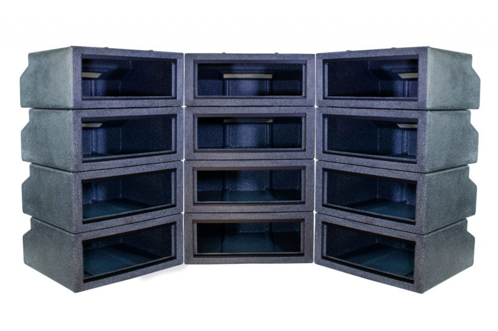 Three stacks of model 221 black granite vision cages