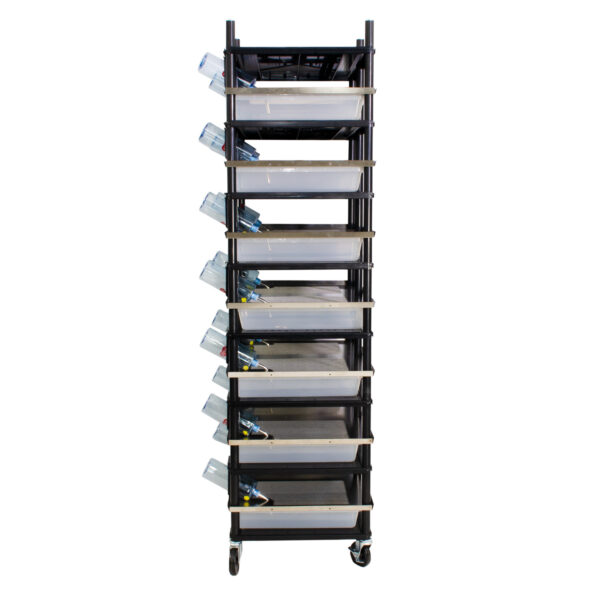 Vision Products 7 level rodent breeding rack for V-35S tubs - side