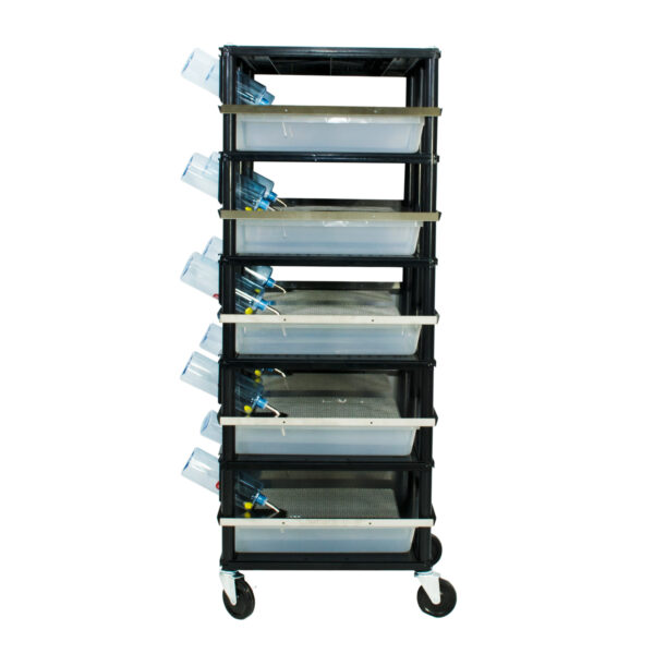 Vision Products 5 level rodent breeding rack for V-35S tubs - side