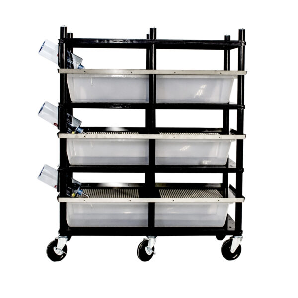 Vision Products 3 level rodent breeding rack for V-70 tubs - side