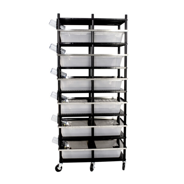 Vision Products 6 level rodent breeding rack for V-70 tubs - side