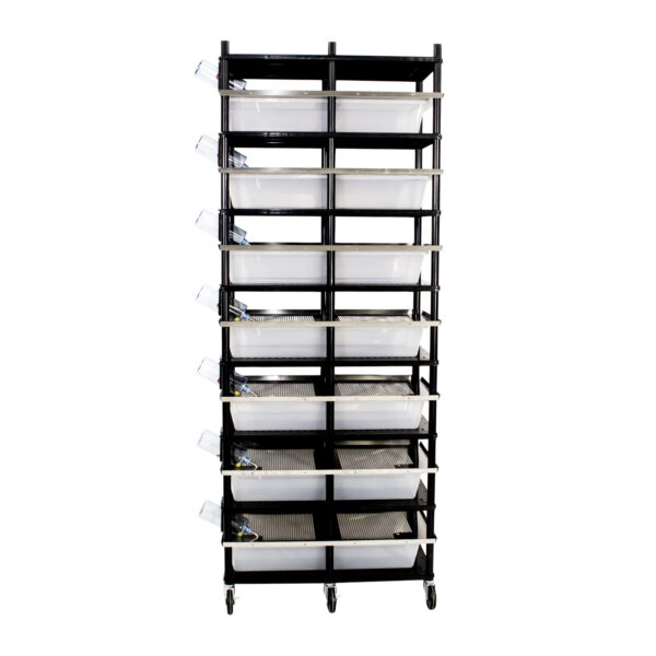 Vision Products 7 level rodent breeding rack for V-70 tubs - side