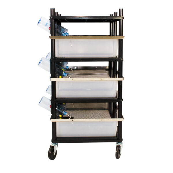 Vision Products 3 level rodent breeding rack for V-35 tubs - side