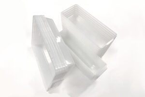 Stacks of Vision Products clear tubs